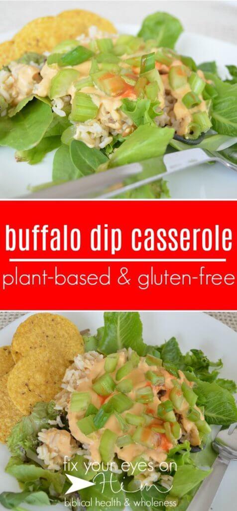 buffalo dip casserole | fixyoureyesonhim.com #healthy #vegan #plantbased #plant #based #glutenfree #gluten #free #dairyfree #dairy #free #clean #easy #buffalo #dip #casserole