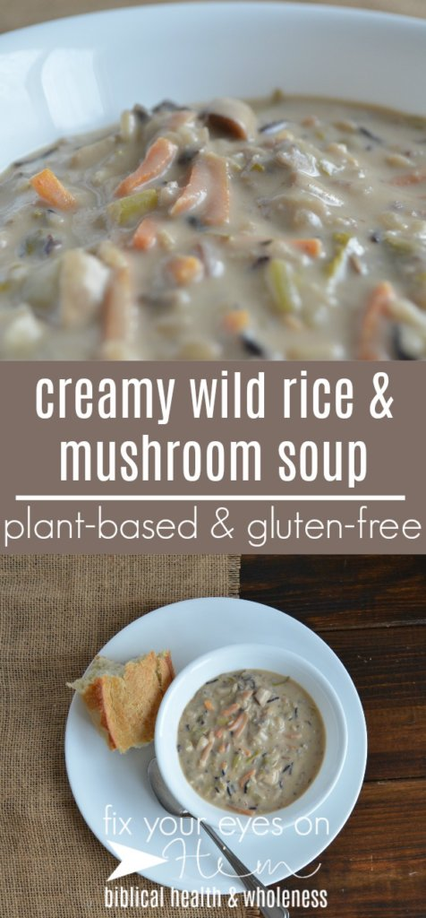 creamy wild rice & mushroom soup | fixyoureyesonhim.com #healthy #health #clean #vegan #vegetarian #nourishing #plantbased #plant #based #glutenfree #gluten #free #dairyfree #dairy #free #soup #fall #winter